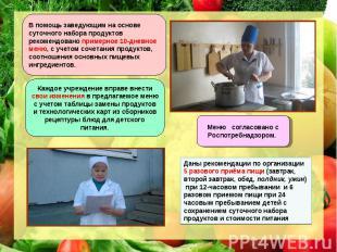 Даны рекомендации по организации 5 разового приёма пищи (завтрак, второй завтрак