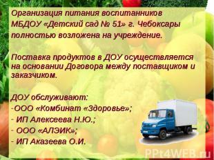 Организация питания воспитанников МБДОУ «Детский сад № 51» г. Чебоксары полность