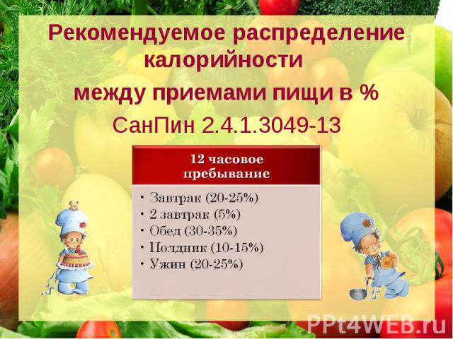 Рекомендуемое распределение калорийности между приемами пищи в % СанПин 2.4.1.3049-13
