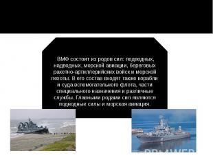 ВМФ состоит из родов сил: подводных, надводных, морской авиации, береговых раке