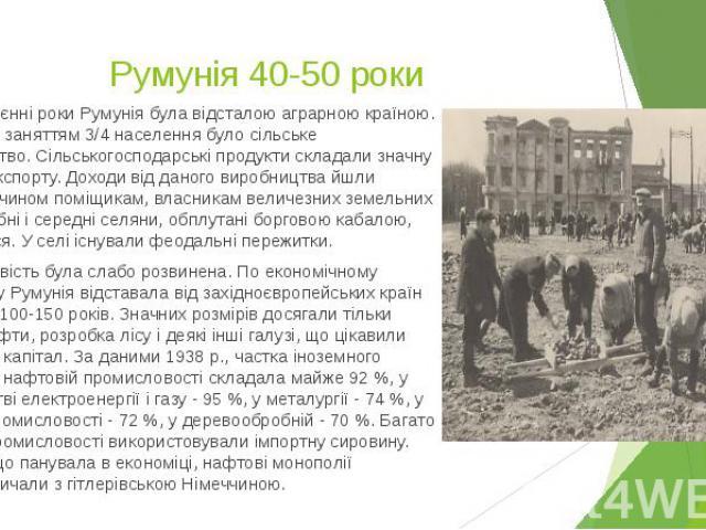У передвоєнні роки Румунія була відсталою аграрною країною. Основним заняттям 3/4 населення було сільське господарство. Сільськогосподарські продукти складали значну частину експорту. Доходи від даного виробництва йшли головним чином поміщикам, влас…