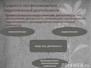 Сущность профессионально – педагогической деятельности Профессионально-педагогич