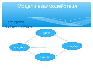 Модели взаимодействия Партнерская. Субъект – субъект.