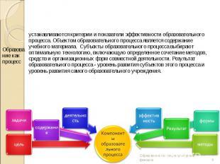 устанавливаются критерии и показатели эффективности образовательного процесса. О