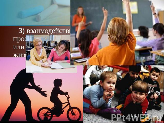 3) взаимодействие между воспитателем, профессионалом-педагогом и воспитуемым или группой их в потребительский период жизни 3) взаимодействие между воспитателем, профессионалом-педагогом и воспитуемым или группой их в потребительский период жизни