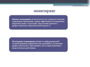 Данные мониторинга используются для совершенствования содержания образования, оц