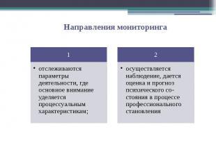 отслеживаются параметры деятельности, где основное внимание уделяется процессуал