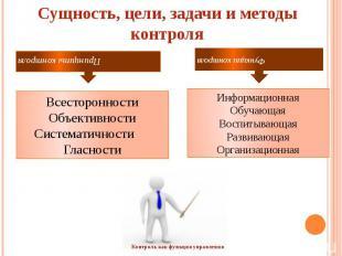 Сущность, цели, задачи и методы контроля  Всесторонности Объективности Системат