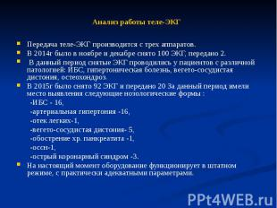 Анализ работы теле-ЭКГ Передача теле-ЭКГ производится с трех аппаратов. В 2014г