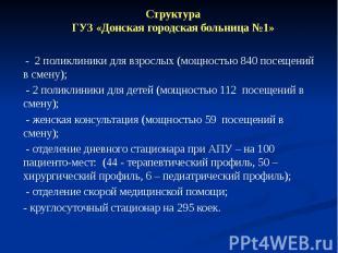 Структура ГУЗ «Донская городская больница №1» - 2 поликлиники для взрослых (мощн