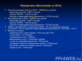 Финансовое обеспечение за 2014г. Получено денежных средств за 2014г. – 385863,8