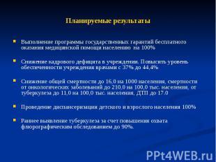 Планируемые результаты Выполнение программы государственных гарантий бесплатного