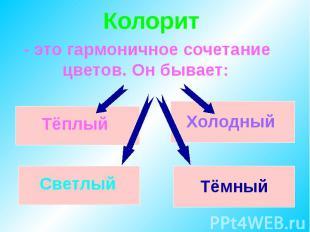 Колорит- это гармоничное сочетание цветов. Он бывает: