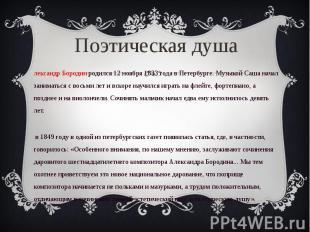 Александр Бородин родился 12 ноября 1833 года в Петербурге. Музыкой Саша начал з