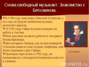 В 1790 году умер князь Николай Эстергази, а его сын, не будучи любителем музыки,