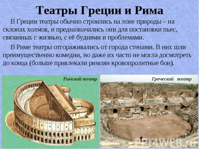 В Греции театры обычно строились на лоне природы – на склонах холмов, и предназначались они для постановки пьес, связанных с жизнью, с её буднями и проблемами. В Греции театры обычно строились на лоне природы – на склонах холмов, и предназначались о…