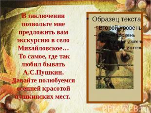 В заключении позвольте мне предложить вам экскурсию в село Михайловское… То само