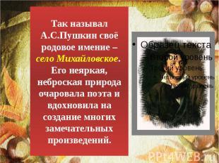 Так называл А.С.Пушкин своё родовое имение – село Михайловское. Его неяркая, неб