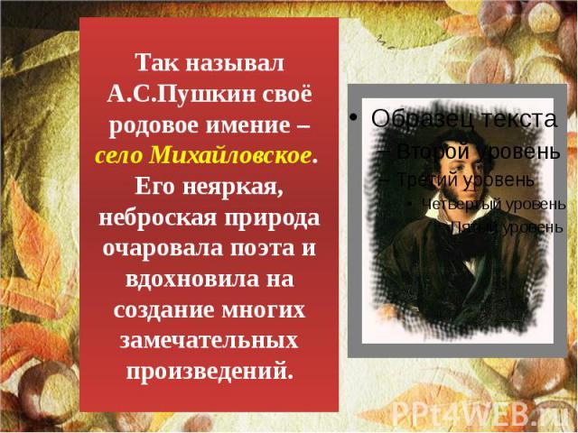 Так называл А.С.Пушкин своё родовое имение – село Михайловское. Его неяркая, неброская природа очаровала поэта и вдохновила на создание многих замечательных произведений.