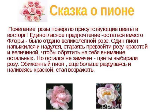 Появление розы повергло присутствующие цветы в восторг! Единогласное предпочтение -остаться вместо Флоры - было отдано великолепной розе. Один пион напыжился и надулся, стараясь превзойти розу красотой и величиной, чтобы обратить на себя внимание ос…