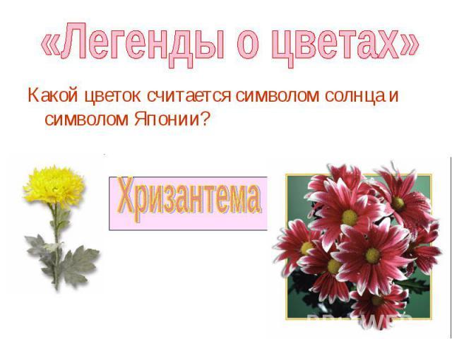 Какой цветок считается символом солнца и символом Японии? Какой цветок считается символом солнца и символом Японии?