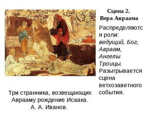Распределяются роли: ведущий, Бог, Авраам, Ангелы Троицы. Разыгрывается сцена ве