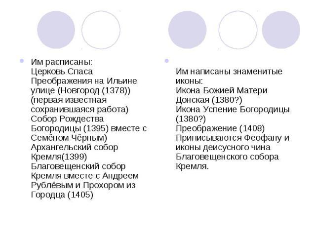 Им расписаны: Церковь Спаса Преображения на Ильине улице (Новгород (1378)) (первая известная сохранившаяся работа) Собор Рождества Богородицы (1395) вместе с Семёном Чёрным) Архангельский собор Кремля(1399) Благовещенский собор Кремля вместе с А…