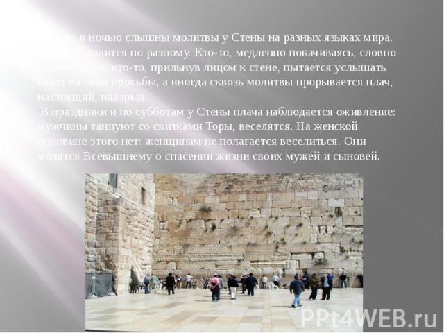 И днем и ночью слышны молитвы у Стены на разных языках мира. Каждый молится по разному. Кто-то, медленно покачиваясь, словно огонек свечи, кто-то, прильнув лицом к стене, пытается услышать ответ на свои просьбы, а иногда сквозь молитвы прорывается п…