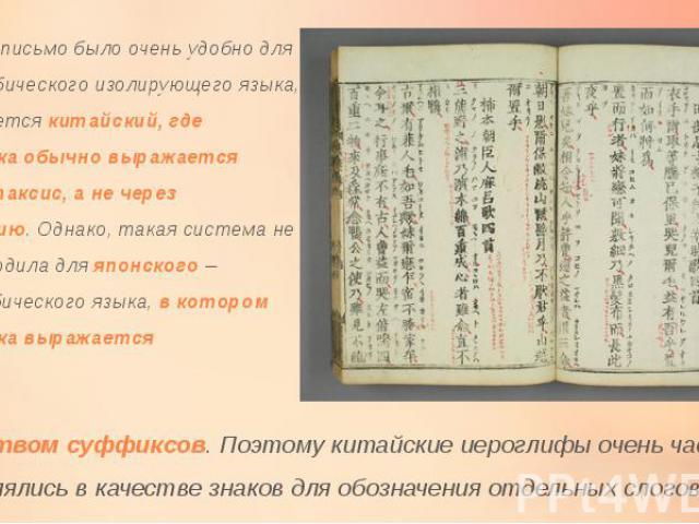 Китайское письмо было очень удобно для моносиллабического изолирующего языка, каким является китайский, где грамматика обычно выражается через синтаксис, а не через морфологию. Однако, такая система не очень подходила для японского – полисиллабическ…