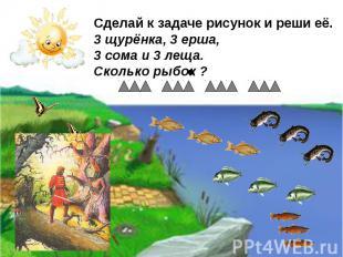 Сделай к задаче рисунок и реши её. 3 щурёнка, 3 ерша, 3 сома и 3 леща. Сколько р