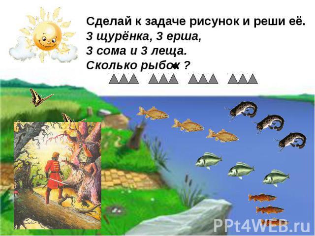 Сделай к задаче рисунок и реши её. 3 щурёнка, 3 ерша, 3 сома и 3 леща. Сколько рыбок ?