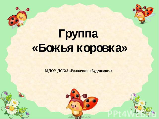 Группа «Божья коровка» МДОУ ДС№З «Родничок» г.Буденновска