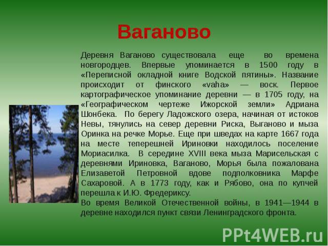 Ваганово Деревня Ваганово существовала еще во времена новгородцев. Впервые упоминается в 1500 году в «Переписной окладной книге Водской пятины». Название происходит от финского «vaha» — воск. Первое картографическое упоминание деревни — в 1705 году,…