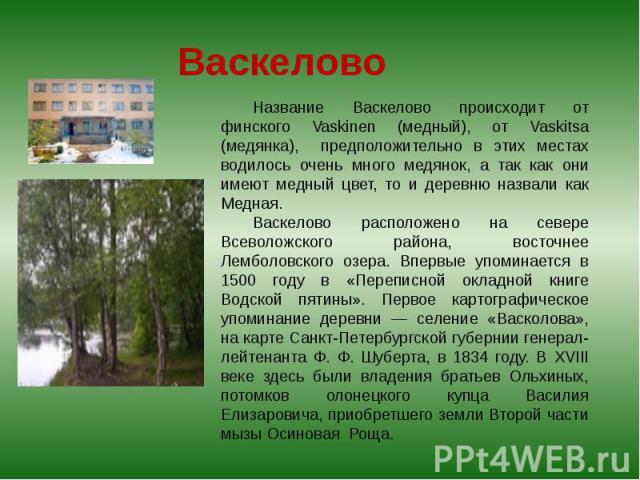 Васкелово Название Васкелово происходит от финского Vaskinen (медный), от Vaskitsa (медянка), предположительно в этих местах водилось очень много медянок, а так как они имеют медный цвет, то и деревню назвали как Медная. Васкелово расположено на сев…
