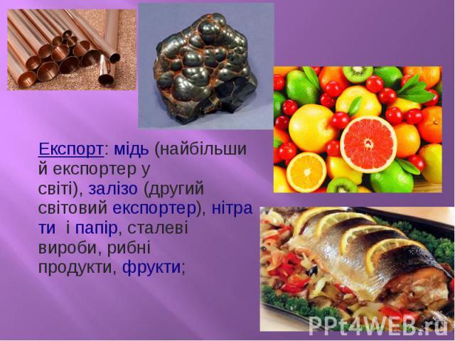 Експорт:мідь(найбільший експортер у світі),залізо (другий світовийекспортер),нітрати іпапір, сталеві вироби, рибні продукти,фрукти;