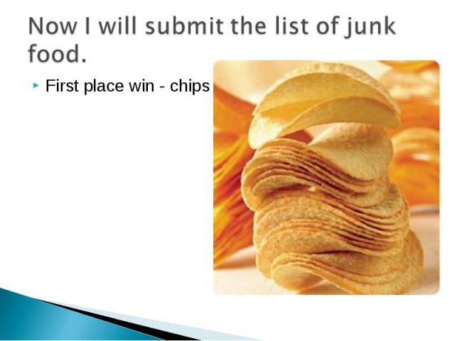 Now I will submit the list of junk food. First place win - chips