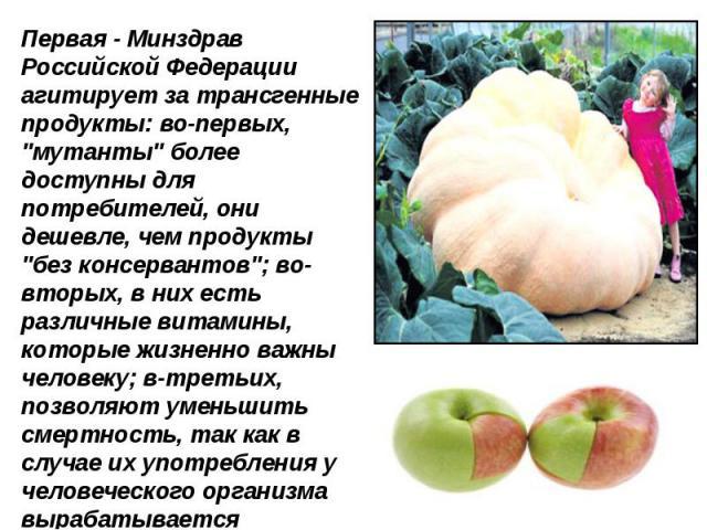 Первая - Минздрав Российской Федерации агитирует за трансгенные продукты: во-первых,