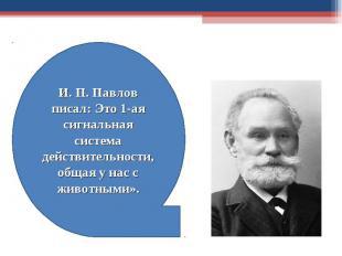 И. П. Павлов писал: Это 1-ая сигнальная система действительности, общая у нас с