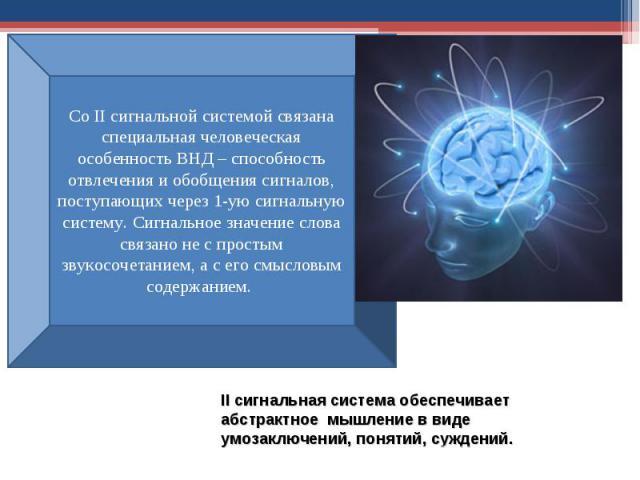 II сигнальная система обеспечивает абстрактное мышление в виде умозаключений, понятий, суждений.