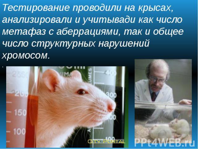 Тестирование проводили на крысах, анализировали и учитывади как число метафаз с аберрациями, так и общее число структурных нарушений хромосом. .