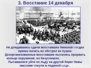 Не дождавшись сдачи восставших Николай I отдал приказ начать их обстрел из пушек