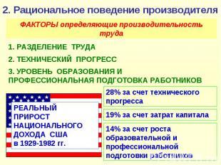 2. Рациональное поведение производителя ФАКТОРЫ определяющие производительность