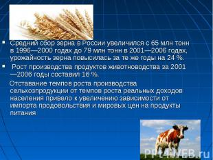 Средний сбор зерна в России увеличился с 65млн тонн в 1996—2000 годах до 79млн