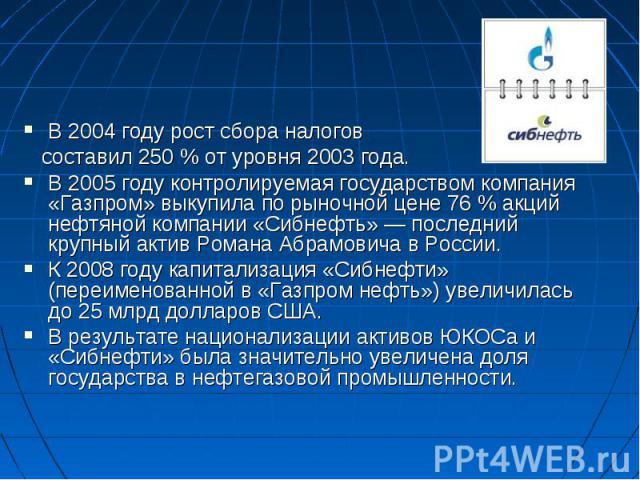 В 2004 году рост сбора налогов составил 250% от уровня 2003 года. В 2005 году контролируемая государством компания «Газпром» выкупила по рыночной цене 76% акций нефтяной компании «Сибнефть»— последний крупный актив Романа Абрамовича в России. К 2…