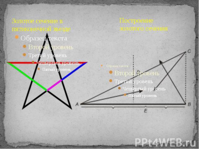 Золотое сечение в пятиконечной звезде Построение золотого сечения