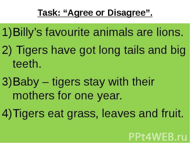 """Task: """"Agree or Disagree"""". Billy's favourite animals are lions. Tigers have got long tails and big teeth. Baby – tigers stay with their mothers for one year. Tigers eat grass, leaves and fruit."""
