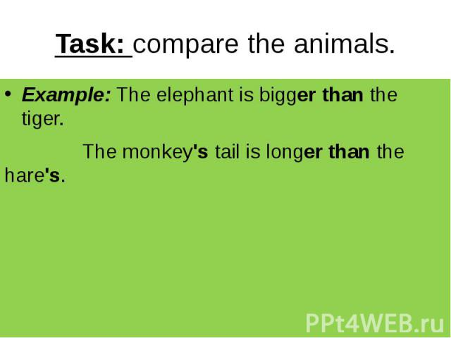 Task: compare the animals. Example: The elephant is bigger than the tiger. The monkey's tail is longer than the hare's.