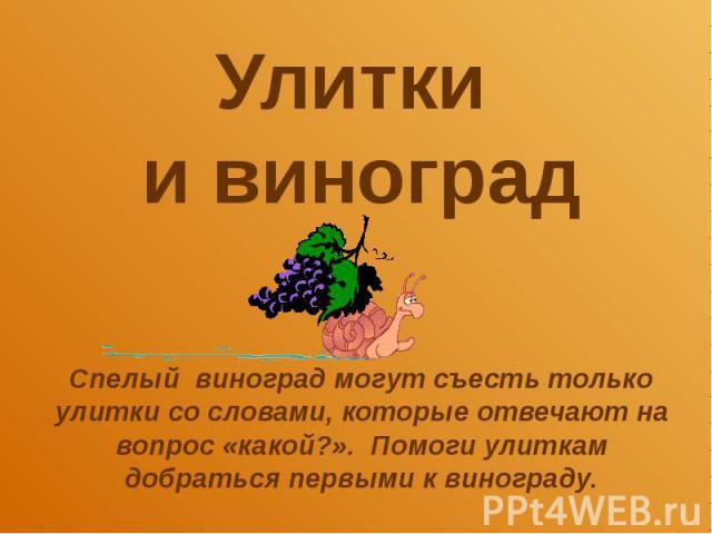 Улитки и виноград Спелый виноград могут съесть только улитки со словами, которые отвечают на вопрос «какой?». Помоги улиткам добраться первыми к винограду.