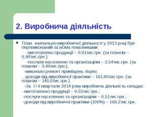 План навчально-виробничої діяльності у 2013 році був перевиконаний за всіма пока