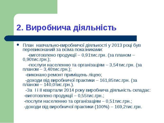 План навчально-виробничої діяльності у 2013 році був перевиконаний за всіма показниками: План навчально-виробничої діяльності у 2013 році був перевиконаний за всіма показниками: -виготовлено продукції – 0,91тис.грн. (за планом – 0,90тис.грн.); -посл…